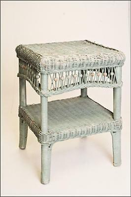 Vintage WICKER SIDE TABLE plant stand shabby blue mid century cottage chic wood