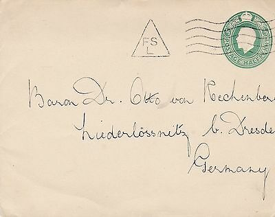"Kgv ½D Stationery Envelope With Undated ""fsl"" Machine Cancel, Telegraphic Code"