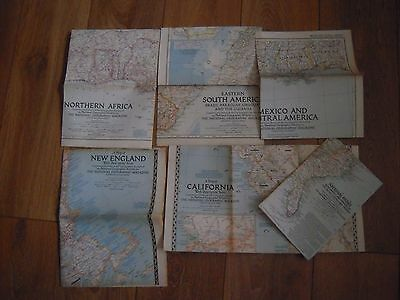 6 x VINTAGE THE NATIONAL GEOGRAPHIC MAGAZINE MAPS. JOB LOT OF 6.