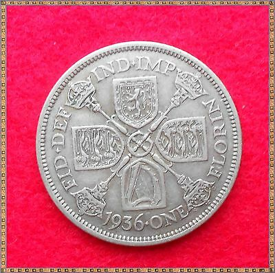 1936 George V Silver Florin/ Two Shillings (2/-) Coin.