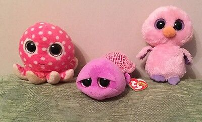 Ty Beanie Boos Turtle, Chick And Octopus.