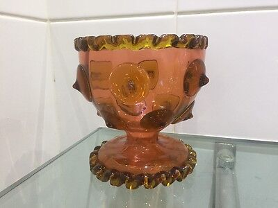 Stunning Antique Victorian Pimple Rose Amber Gothic Glass Bowl @ 1880