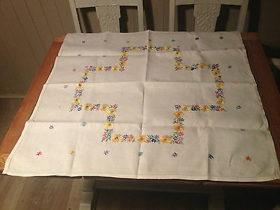 Tea party pretty vintage hand embroidered table cloth linen cotton rayon