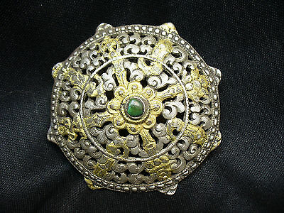 Antique Silver Ottoman Empire Brooch with Turquoise and Gold