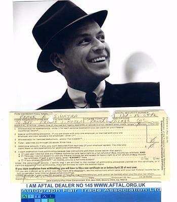 Frank Sinatra vintage signed 20th Century Personnel record card AFTAL
