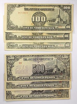 Philippines Lot of (6) 500 & 100 Pesos 1944-S Japanese Occupation Note