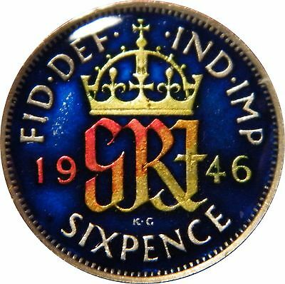 WCA Enamelled Silver Sixpence 1946 Great Britain