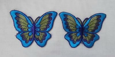 Vintage 1970's (Approx) 2 x Turquoise, Green & Purple Butterfly Lace Appliques