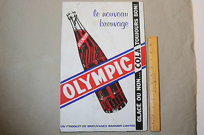 Rare VINTAGE OLYMPIC COLA CARDBOARD STORE SODA SIGN CANADIAN c.1950's RADNOR