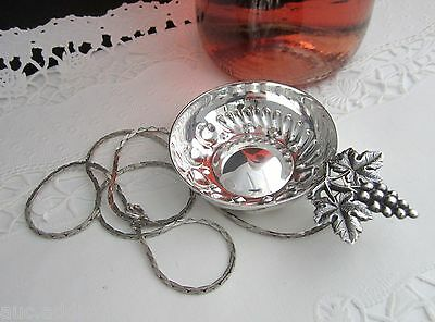 Vintage French Silverplate Sommelier Wine Tasting Cup w Sterling Chain Grapes