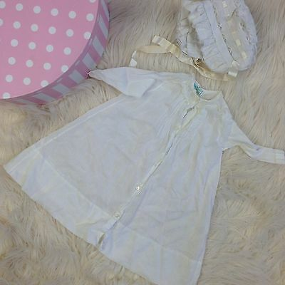 Vtg baby 1950s Gown Dress Bonnet White Christening clothes clothing outfit 0-3