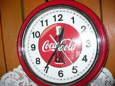 """9.5"""" Round Red Metal Coca-Cola Wall Clock Soda Advertising Works Perfect"""