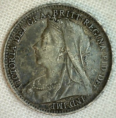 1895 Silver English 3 Pence Three Cent Great Britain UK Coin VF Threepence