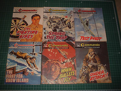 6 Early Old Commando Comic Books War Stories In Pictures Bundle Joblot Job Lot