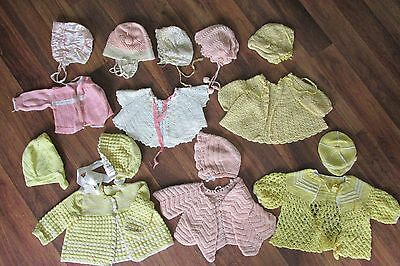 Vintage Baby Clothing Collection Of 6 Knit Sweaters And 9 Bonnets/  Pastel Color