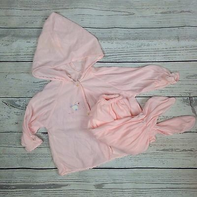 vtg 1950s 50s baby girl pink footed hooded pj pajama set 0-6 months 11-16 lbs