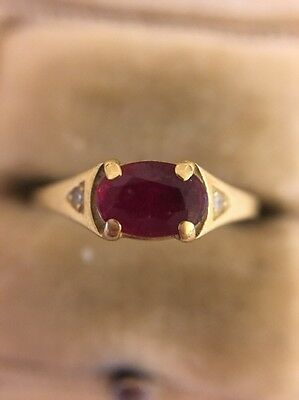 Stunning Antique Victorian 18ct Yellow Gold Hallmarked Ruby And Diamond Ring