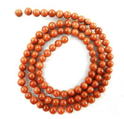 """4MM Natural Round smooth Gold sand stone Jewelry Making loose GEM beads 15"""""""