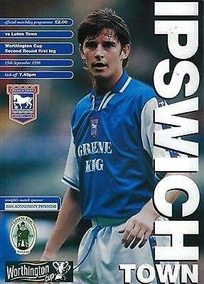 Ipswich Town (Home) Luton (Away club) 15/09/98 Portman Road football programme