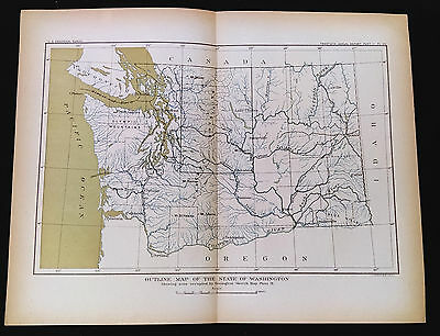 1898 USGS Outline Map of the State of Washington