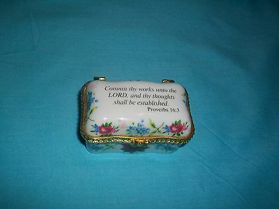 Imperial Porcelain Miniature Hinged Trinket Box w/Scripture verse Proverbs 16:3