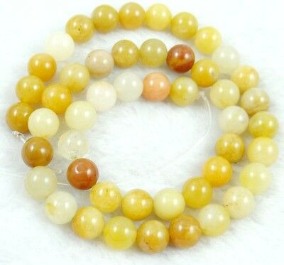 """8MM Natural Round smooth yellow jade  Jewelry Making loose GEM beads 7.5"""""""