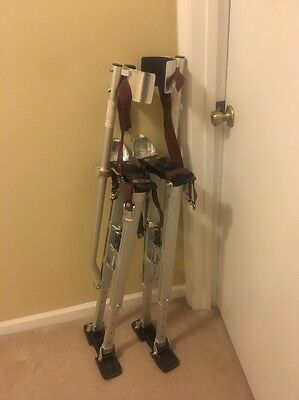 "$299.95 Single Pole Aluminum  Drywall Stilts 24-40"" - Large - Used Once Duralift"