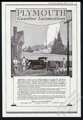 1919 Plymouth gas locomotive photo vintage print ad 2