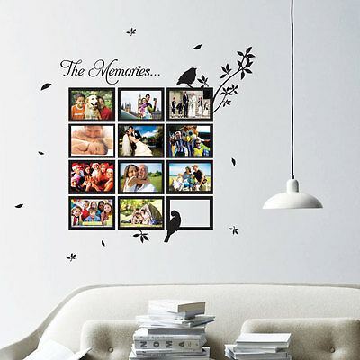 Multi Photo Frame Bird Tree Art Wall Quotes / Wall Stickers / Wall Decals 132