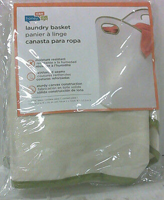 NEW OPEN BOX Honey-Can-Do LDY-01997 Large Load Canvas Laundry Basket White/Green