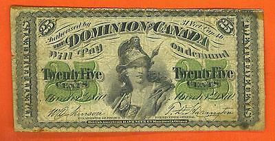 25¢ 1870 The Dominion Of Canada ANTIQUE CURRENCY!