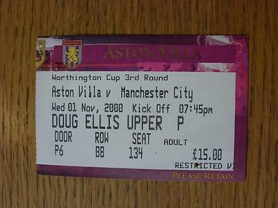 01/11/2000 Ticket: Aston Villa v Manchester City [Football League Cup]