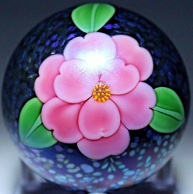 New Orient and Flume Iridescent Camellia Paperweight Studio Art Glass