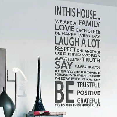Family House Rules Love Art Wall Quote Stickers, Wall Decals, Words Lettering 24