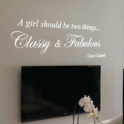 Coco Chanel Classy and Fabulous Fashion Art Wall Stickers Quote Wall Decals 22