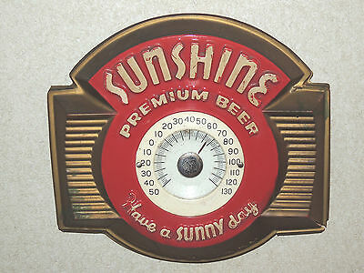 """Vintage Sunshine Premium Beer """"Have a Sunny Day"""" Advertising Plastic Thermometer"""