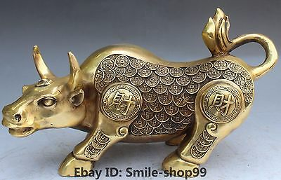 "14"" Chinese Bronze Wealth Money Coins Zodiac Year Oxen Cattle Animal Statue"