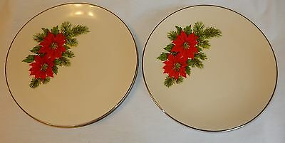 Triomphe USA Lot of 2 Poinsettia Dinner Plates - Very Nice Condition!