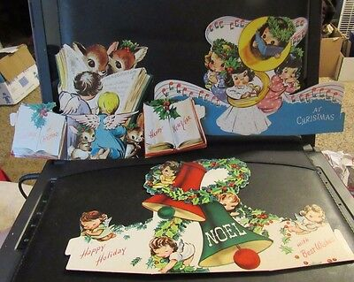 3 Vintage Christmas Cards Tri-Fold Stand Up Angels