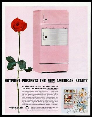 1957 Hotpoint pink refrigerator color photo vintage print ad