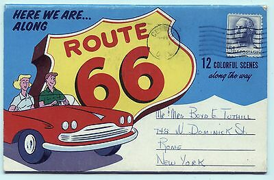 Famous Route 66 Postcard Packet 12 Back-To-Back Color Views !!!