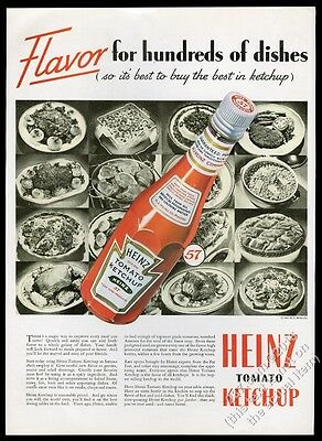 1936 Heinz tomato ketchup bottle and 16 meals photo vintage print ad