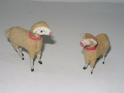 2 Antique Vintage Putz Woolly Sheep - Christmas Nativity Manger Sheep
