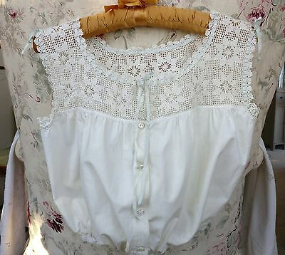 Antique Victorian Hand Floral Crocheted Blue Satin Ribbon Camisole Corset Cover