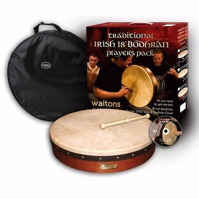WALTONS Traditional 18 Inch Bodhran Pack Includes Bag & DVD Tutor DWP19418