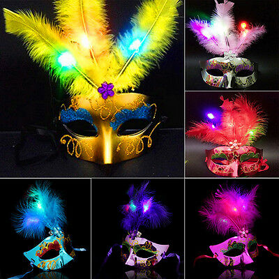 Tinksky Feather Mask Mardi Gras Masquerade Mask Party Feather LED Masks