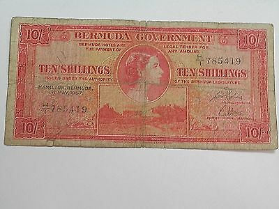 May 1St 1957 10 Shilling Banknote From Bermuda With Young Queen Elizabeth Ii