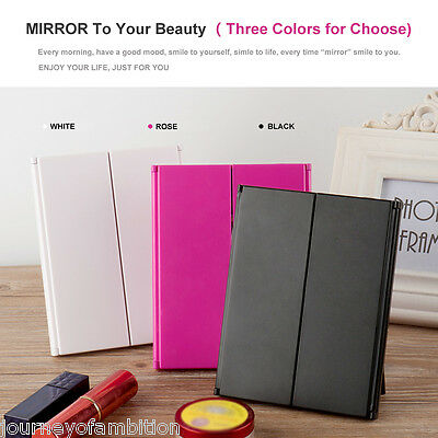 Ovonni 8LEDs Lighted Tri Fold Travel Mirror Touch Screen Make-up Cosmetic Mirror
