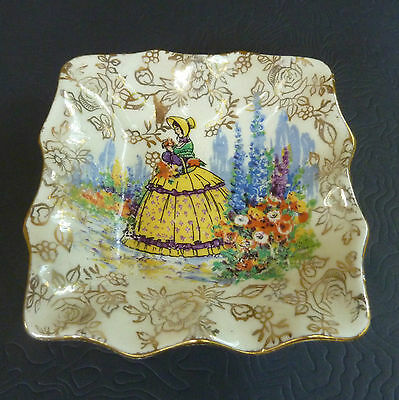 """JAMES KENT CRINOLINE LADY""  Miniature Square Shape Dish - Made in England  A/F"
