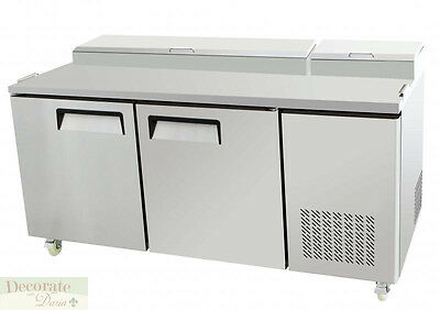 """PIZZA SALAD SANDWICH PREP TABLE 67"""" REFRIGERATED 2 Door 20CF Stainless Steel New"""